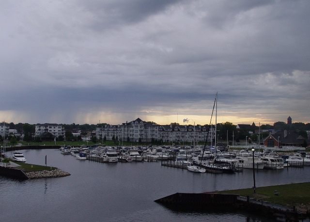 Rain clouds over Ludington, MI marina