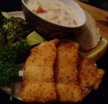 Fried Northern Pike with Clam Chowder