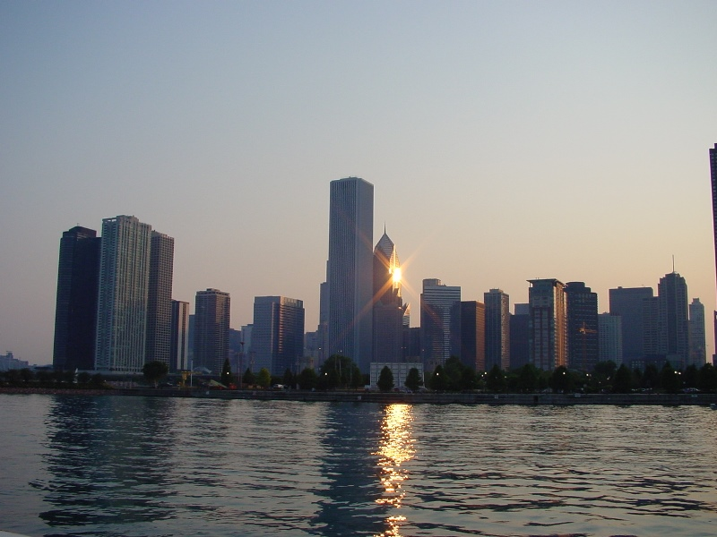A Chicago skyline sunset
