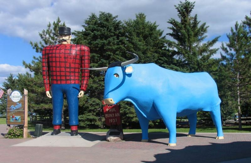 Paul Bunyan and Babe the Blue Ox - at home adjacent to Tourist Info Center since 1937.  Photo courtesy visitbemidji.com