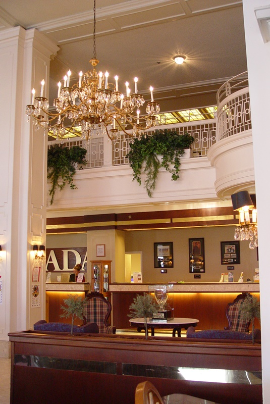 The lobby of the Ramada Plaza Hotel